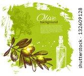 vintage olive background. hand...   Shutterstock .eps vector #132609128