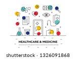 medicine concept in thin line... | Shutterstock .eps vector #1326091868