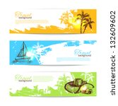banner set of travel colorful... | Shutterstock .eps vector #132609602