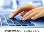 female hands typing on laptot ... | Shutterstock . vector #132612272