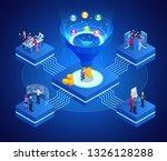 isometric online funnel... | Shutterstock . vector #1326128288