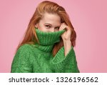 young redhead woman hiding face ... | Shutterstock . vector #1326196562