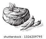 sketch hand drawn raw steak... | Shutterstock .eps vector #1326209795