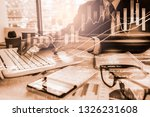double exposure businessman and ... | Shutterstock . vector #1326231608
