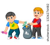 two boys collecting rubbish | Shutterstock .eps vector #1326276482