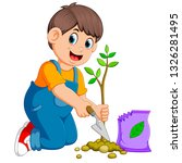a boy planting a green young... | Shutterstock .eps vector #1326281495