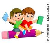 school kids riding a pencil | Shutterstock .eps vector #1326282695