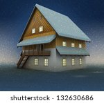 old mountain hut and window... | Shutterstock . vector #132630686