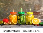different drinks  fruits and... | Shutterstock . vector #1326313178