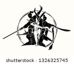 kung fu fighter with weapons ... | Shutterstock .eps vector #1326325745