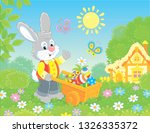 grey bunny with a wooden...   Shutterstock .eps vector #1326335372