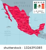 large map of mexico with cities ... | Shutterstock .eps vector #1326391085