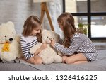 the image of two little sisters ... | Shutterstock . vector #1326416225