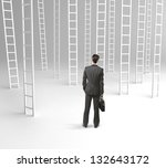 businessman with briefcase and... | Shutterstock . vector #132643172