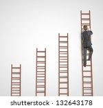 man climbing on ladder and...   Shutterstock . vector #132643178
