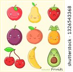 funny kawaii fruits with faces | Shutterstock .eps vector #1326543368