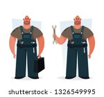 strong worker holding wrench... | Shutterstock .eps vector #1326549995