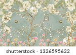 Stock photo  d wallpaper design with english country style branches and flowers and birds for mural print 1326595622