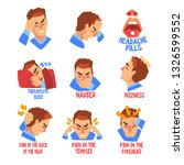 man suffering from headache and ... | Shutterstock .eps vector #1326599552