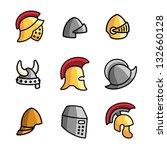 set of different helmets...