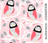 seamless pattern with owls on... | Shutterstock .eps vector #1326605438