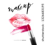 smudged red lipstick and... | Shutterstock .eps vector #1326683195