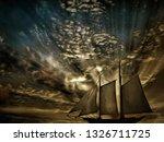 Painting. Sailboat. Dramatic...