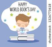 cute boy reading book for wolrd ... | Shutterstock .eps vector #1326773618