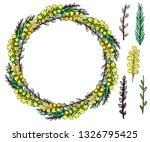 spring wreath of flowers and... | Shutterstock .eps vector #1326795425