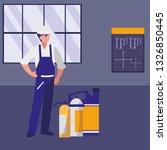 mechanic worker with oil gallon | Shutterstock .eps vector #1326850445