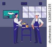 mechanics workers with oil... | Shutterstock .eps vector #1326851255