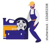 mechanic worker with tire car... | Shutterstock .eps vector #1326852338