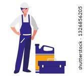mechanic worker with oil gallon | Shutterstock .eps vector #1326856205