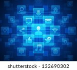 social media icons and light... | Shutterstock .eps vector #132690302