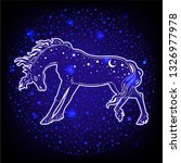 dark beautiful horse. magic... | Shutterstock .eps vector #1326977978