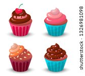 sweet food chocolate cake set.... | Shutterstock . vector #1326981098