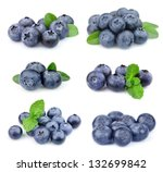 Collage Of Blueberries On White