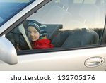 portrait of the child in the car | Shutterstock . vector #132705176