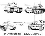powerful tank with a gun drawn... | Shutterstock .eps vector #1327060982