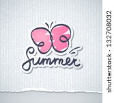 summer illustration with... | Shutterstock . vector #132708032