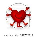 smiling heart as the vitruvian...   Shutterstock . vector #132709112