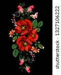 colorful embroidery on a black...   Shutterstock .eps vector #1327106222