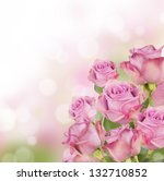 Stock photo pink roses bouquet with free space for text 132710852