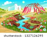 fantasy landscape with river ... | Shutterstock .eps vector #1327126295