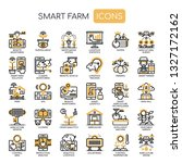 smart farm   thin line and... | Shutterstock .eps vector #1327172162