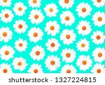 white daisies on cyan... | Shutterstock . vector #1327224815