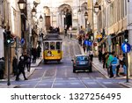 vintage yellow tram in the down ... | Shutterstock . vector #1327256495