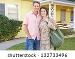 husband welcoming wife home on... | Shutterstock . vector #132733496