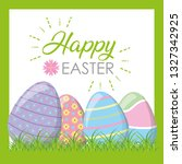 happy easter eggs on grass | Shutterstock .eps vector #1327342925