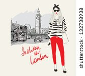 fashion girl in london.vector... | Shutterstock .eps vector #132738938